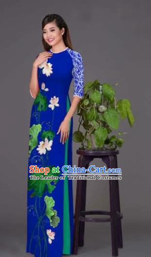 Traditional Top Grade Asian Vietnamese Costumes Classical Printing Lotus Royalblue Cheongsam, Vietnam National Vietnamese Princess Bride Korean Silk Ao Dai Dress
