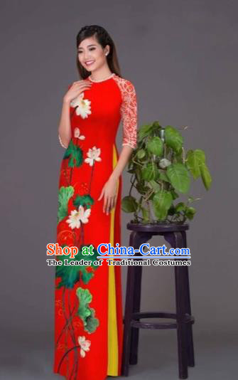 Traditional Top Grade Asian Vietnamese Costumes Classical Printing Lotus Red Cheongsam, Vietnam National Vietnamese Princess Bride Korean Silk Ao Dai Dress