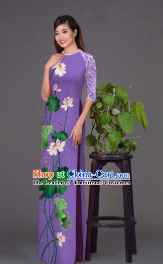 Traditional Top Grade Asian Vietnamese Costumes Classical Printing Lotus Purple Cheongsam, Vietnam National Vietnamese Princess Bride Korean Silk Ao Dai Dress