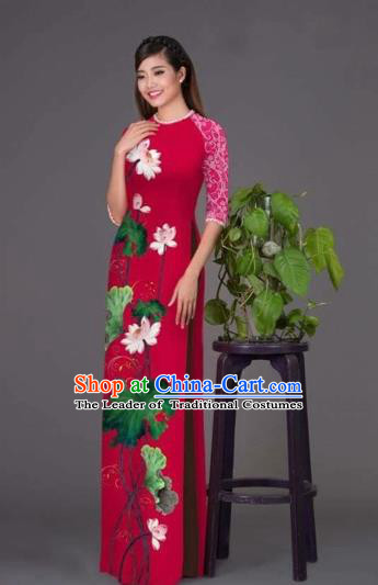 Traditional Top Grade Asian Vietnamese Costumes Classical Printing Lotus Wine Red Cheongsam, Vietnam National Vietnamese Princess Bride Korean Silk Ao Dai Dress