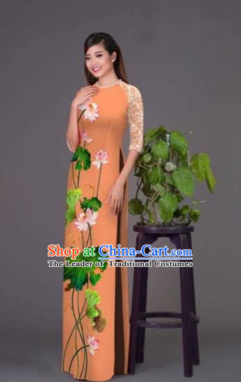 Traditional Top Grade Asian Vietnamese Costumes Classical Printing Lotus Orange Cheongsam, Vietnam National Vietnamese Princess Bride Korean Silk Ao Dai Dress