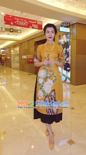 Traditional Top Grade Asian Vietnamese Costumes Classical Printing Cheongsam, Vietnam National Vietnamese Princess Bride Ao Dai Dress