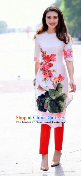 Traditional Top Grade Asian Vietnamese Costumes Classical Printing Cheongsam, Vietnam National Vietnamese Princess Bride White Ao Dai Dress