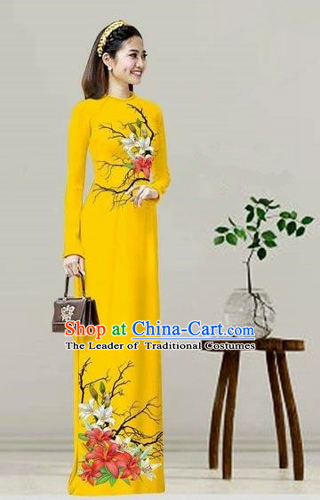 Traditional Top Grade Asian Vietnamese Costumes Classical Printing Yellow Cheongsam, Vietnam National Vietnamese Bride Ao Dai Dress