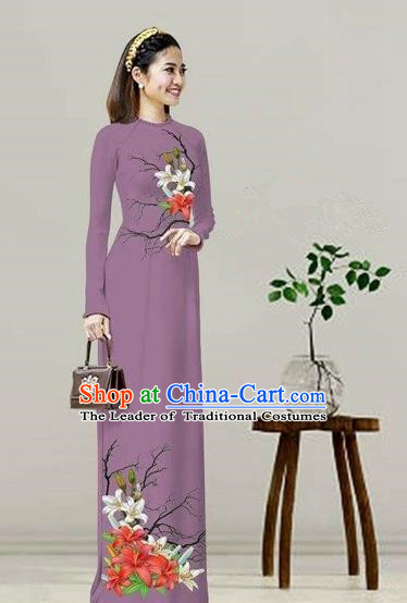 Traditional Top Grade Asian Vietnamese Costumes Classical Printing Purple Cheongsam, Vietnam National Vietnamese Bride Ao Dai Dress