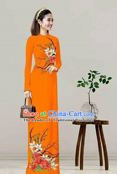 Traditional Top Grade Asian Vietnamese Costumes Classical Printing Orange Cheongsam, Vietnam National Vietnamese Bride Ao Dai Dress