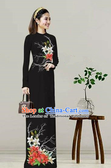 Traditional Top Grade Asian Vietnamese Costumes Classical Printing Black Cheongsam, Vietnam National Vietnamese Bride Ao Dai Dress
