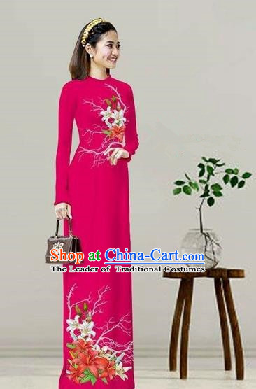 Traditional Top Grade Asian Vietnamese Costumes Classical Printing Rosy Cheongsam, Vietnam National Vietnamese Bride Ao Dai Dress