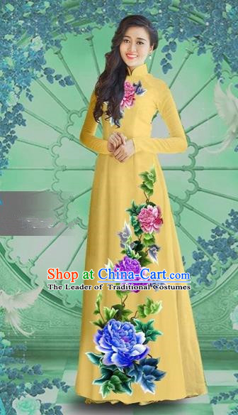 Traditional Top Grade Asian Vietnamese Costumes Classical Printing Light Yellow Chiffon Cheongsam, Vietnam National Vietnamese Bride Ao Dai Dress