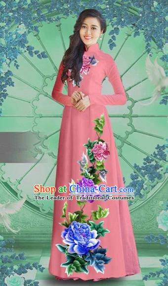 Traditional Top Grade Asian Vietnamese Costumes Classical Printing Watermelon Red Chiffon Cheongsam, Vietnam National Vietnamese Bride Ao Dai Dress