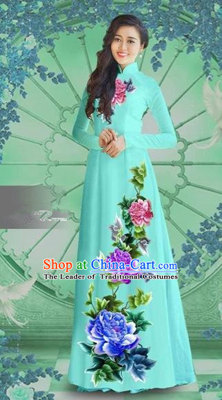 Traditional Top Grade Asian Vietnamese Costumes Classical Printing Blue Chiffon Cheongsam, Vietnam National Vietnamese Bride Ao Dai Dress