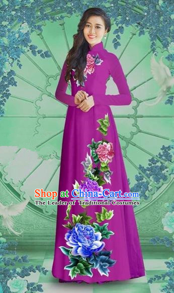 Traditional Top Grade Asian Vietnamese Costumes Classical Printing Purple Chiffon Cheongsam, Vietnam National Vietnamese Bride Ao Dai Dress