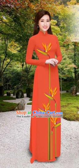 Traditional Top Grade Asian Vietnamese Costumes Classical Printing Long Cheongsam, Vietnam National Vietnamese Princess Bride Orange Ao Dai Dress
