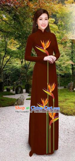 Traditional Top Grade Asian Vietnamese Costumes Classical Printing Long Cheongsam, Vietnam National Vietnamese Princess Bride Wine Red Ao Dai Dress