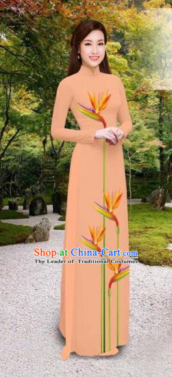 Traditional Top Grade Asian Vietnamese Costumes Classical Printing Long Cheongsam, Vietnam National Vietnamese Princess Bride Pink Ao Dai Dress