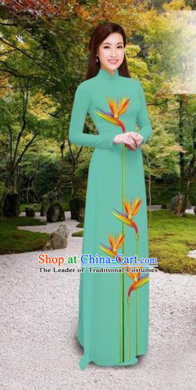 Traditional Top Grade Asian Vietnamese Costumes Classical Printing Long Cheongsam, Vietnam National Vietnamese Princess Bride Green Ao Dai Dress