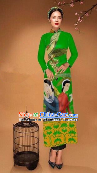 Traditional Top Grade Asian Vietnamese Costumes Classical Printing Cheongsam, Vietnam National Vietnamese Bride Green Ao Dai Dress Tang Suit Clothing