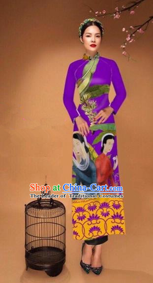 Traditional Top Grade Asian Vietnamese Costumes Classical Printing Cheongsam, Vietnam National Vietnamese Bride Purple Ao Dai Dress Tang Suit Clothing
