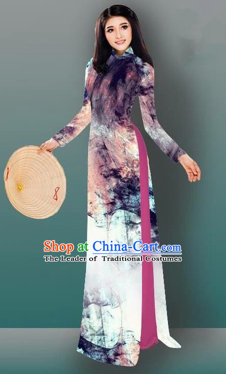 Top Grade Asian Vietnamese Costumes Classical Jing Nationality Gradient Watercolor Printing Brown Cheongsam, Vietnam National Vietnamese Traditional Princess Ao Dai Dress