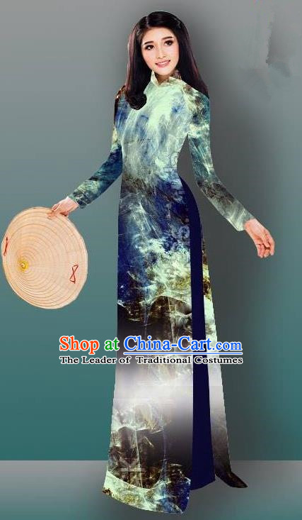 Top Grade Asian Vietnamese Costumes Classical Jing Nationality Gradient Cheongsam, Vietnam National Vietnamese Traditional Princess Ao Dai Dress
