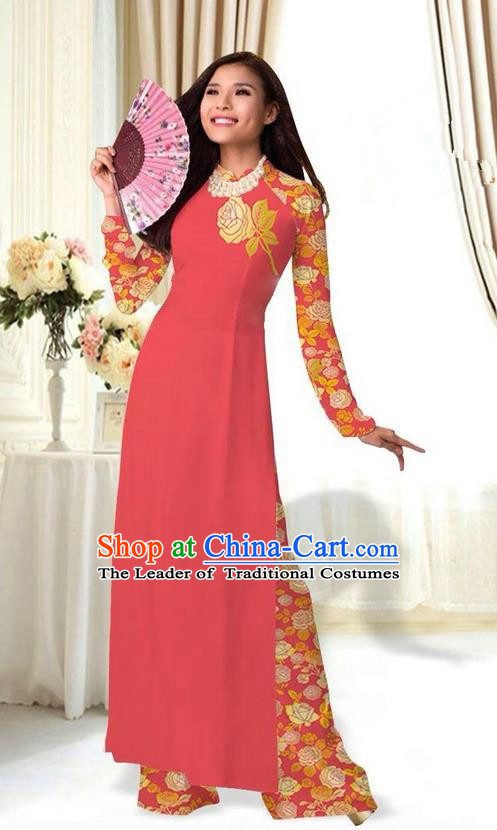 Top Grade Asian Vietnamese Costumes Classical Jing Nationality Printing Flower Watermelon Red Cheongsam, Vietnam National Vietnamese Traditional Princess Ao Dai Dress