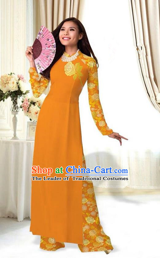 Top Grade Asian Vietnamese Costumes Classical Jing Nationality Printing Flower Ginger Cheongsam, Vietnam National Vietnamese Traditional Princess Ao Dai Dress