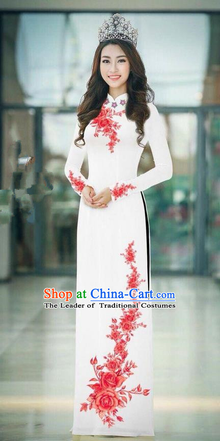 Top Grade Asian Vietnamese Costumes Classical Jing Nationality Printing Handmade White Cheongsam, Vietnam National Vietnamese Traditional Princess Ao Dai Dress