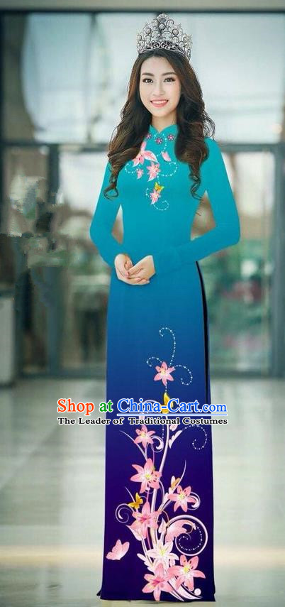 Top Grade Asian Vietnamese Costumes Classical Jing Nationality Printing Handmade Peacock Green Cheongsam, Vietnam National Vietnamese Traditional Princess Ao Dai Dress
