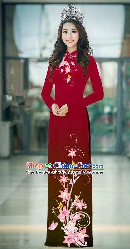 Top Grade Asian Vietnamese Costumes Classical Jing Nationality Printing Handmade Purplish Red Cheongsam, Vietnam National Vietnamese Traditional Princess Ao Dai Dress