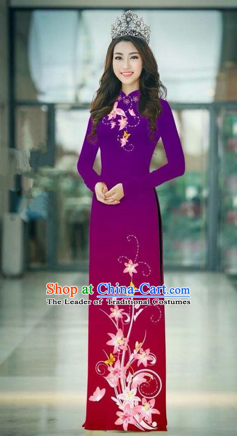 Top Grade Asian Vietnamese Costumes Classical Jing Nationality Printing Handmade Purple Cheongsam, Vietnam National Vietnamese Traditional Princess Ao Dai Dress
