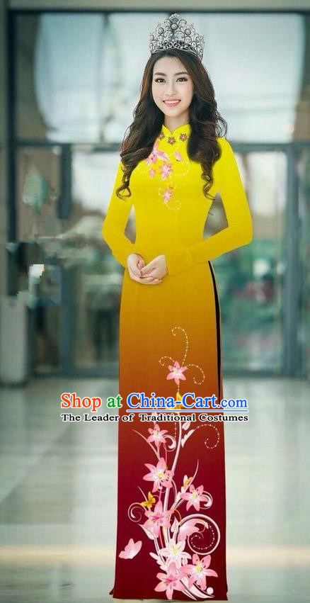 Top Grade Asian Vietnamese Costumes Classical Jing Nationality Printing Handmade Yellow Cheongsam, Vietnam National Vietnamese Traditional Princess Ao Dai Dress
