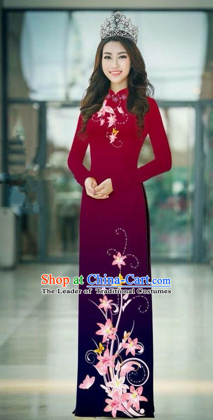 Top Grade Asian Vietnamese Costumes Classical Jing Nationality Printing Handmade Wine Red Cheongsam, Vietnam National Vietnamese Traditional Princess Ao Dai Dress