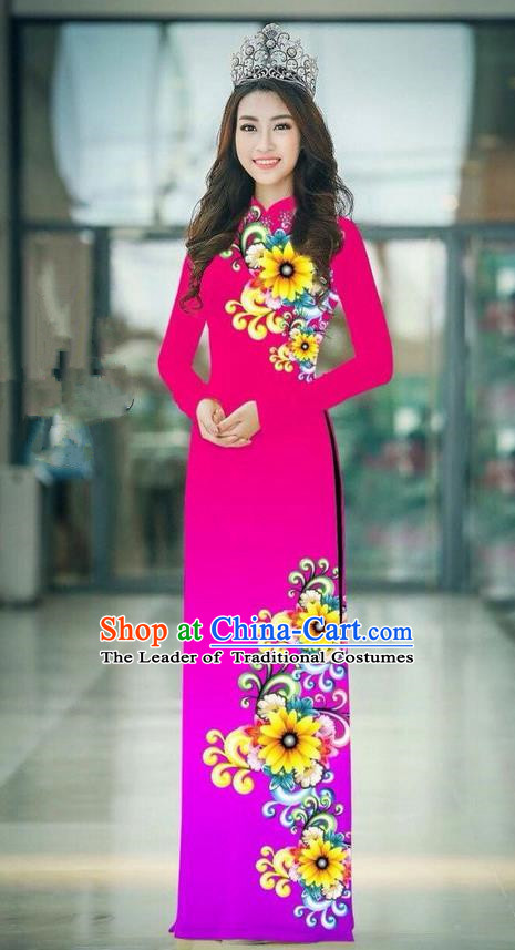 Top Grade Asian Vietnamese Costumes Classical Jing Nationality Printing Handmade Pink Cheongsam, Vietnam National Vietnamese Traditional Princess Ao Dai Dress