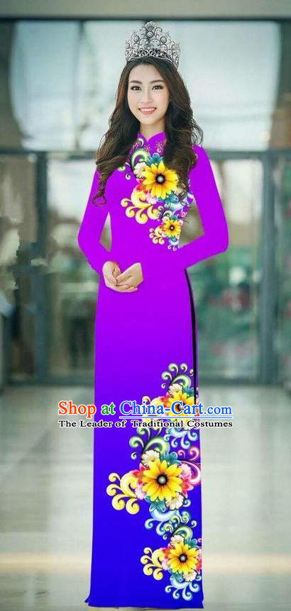 Top Grade Asian Vietnamese Costumes Classical Jing Nationality Printing Handmade Fuschia Cheongsam, Vietnam National Vietnamese Traditional Princess Ao Dai Dress