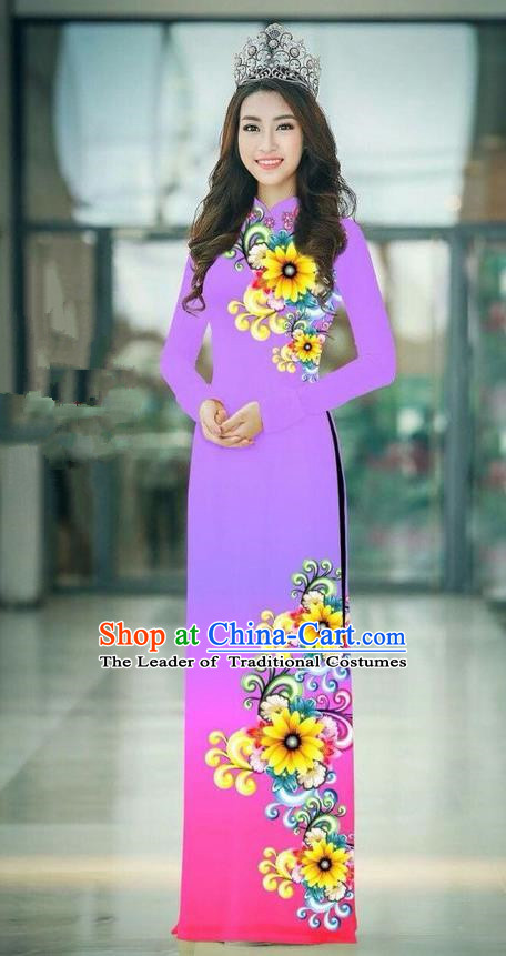 Top Grade Asian Vietnamese Costumes Classical Jing Nationality Printing Handmade Gradient Lilac Cheongsam, Vietnam National Vietnamese Traditional Princess Ao Dai Dress