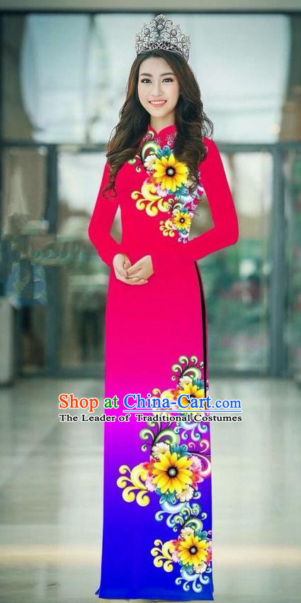 Top Grade Asian Vietnamese Costumes Classical Jing Nationality Printing Handmade Gradient Fuschia Cheongsam, Vietnam National Vietnamese Traditional Princess Ao Dai Dress