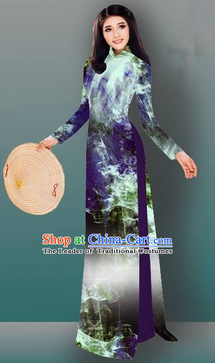 Top Grade Asian Vietnamese Costumes Classical Jing Nationality Gradient Watercolor Printing Blue Cheongsam, Vietnam National Vietnamese Traditional Princess Ao Dai Dress