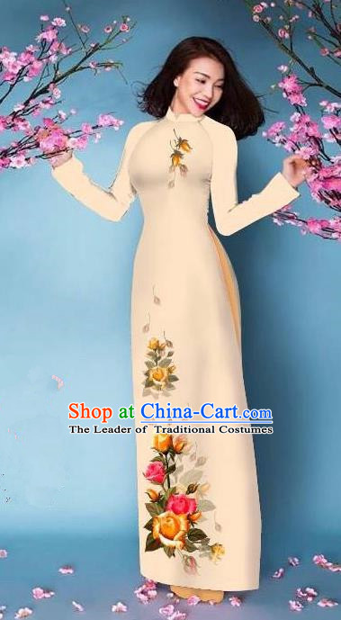 Top Grade Asian Vietnamese Costumes Classical Jing Nationality Printing Handmade Beige Cheongsam, Vietnam National Vietnamese Bride Traditional Princess Ao Dai Dress