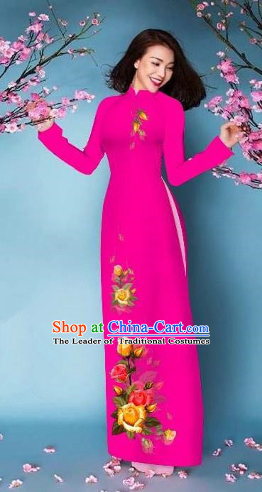 Top Grade Asian Vietnamese Costumes Classical Jing Nationality Printing Handmade Rosy Cheongsam, Vietnam National Vietnamese Bride Traditional Princess Ao Dai Dress