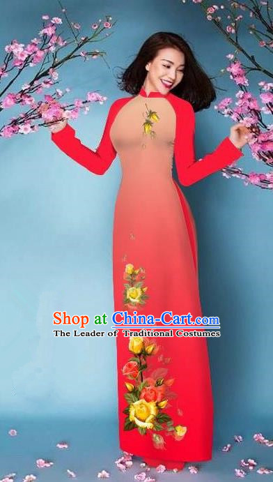 Top Grade Asian Vietnamese Costumes Classical Jing Nationality Printing Handmade Watermelon Red Cheongsam, Vietnam National Vietnamese Bride Traditional Princess Ao Dai Dress