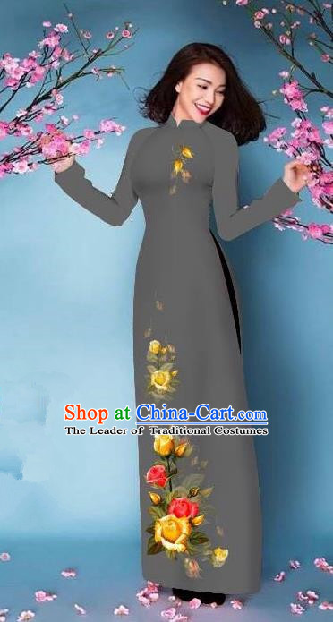 Top Grade Asian Vietnamese Costumes Classical Jing Nationality Printing Handmade Grey Cheongsam, Vietnam National Vietnamese Bride Traditional Princess Ao Dai Dress