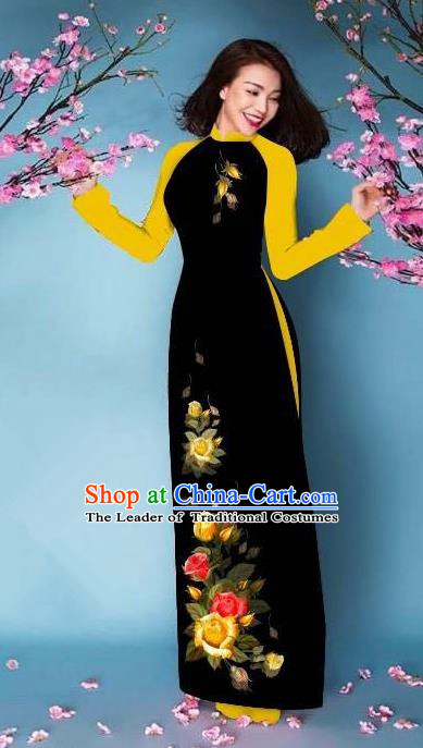 Top Grade Asian Vietnamese Costumes Classical Jing Nationality Printing Handmade Black Cheongsam, Vietnam National Vietnamese Bride Traditional Princess Ao Dai Dress