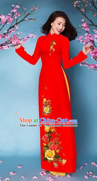 Top Grade Asian Vietnamese Costumes Classical Jing Nationality Printing Handmade Red Cheongsam, Vietnam National Vietnamese Bride Traditional Princess Ao Dai Dress