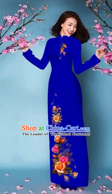 Top Grade Asian Vietnamese Costumes Classical Jing Nationality Printing Handmade Royalblue Cheongsam, Vietnam National Vietnamese Bride Traditional Princess Ao Dai Dress