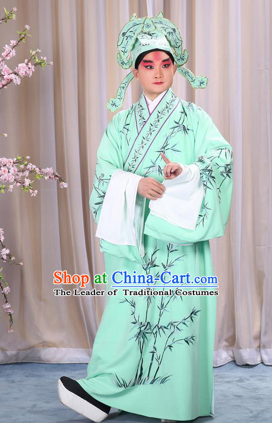 Traditional Chinese Beijing Opera Dress Clothing, China Peking Opera Young Man Costume Embroidered Bamboo Leaf Robe Opera Costumes