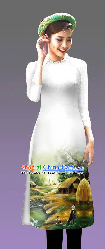 Top Grade Asian Vietnamese Costumes Classical Jing Nationality Landscape Painting Cheongsam, Vietnam National Vietnamese Bride Traditional Princess White Ao Dai Dress