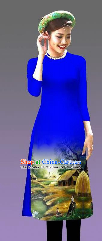 Top Grade Asian Vietnamese Costumes Classical Jing Nationality Landscape Painting Cheongsam, Vietnam National Vietnamese Bride Traditional Princess Royalblue Ao Dai Dress