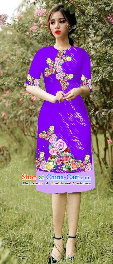 Top Grade Asian Vietnamese Costumes Classical Jing Nationality Short Cheongsam, Vietnam National Vietnamese Bride Traditional Princess Purple Ao Dai Dress