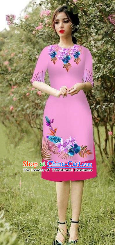 Top Grade Asian Vietnamese Costumes Classical Jing Nationality Short Cheongsam, Vietnam National Vietnamese Bride Traditional Princess Peachpuff Ao Dai Dress