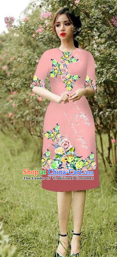 Top Grade Asian Vietnamese Costumes Classical Jing Nationality Short Cheongsam, Vietnam National Vietnamese Bride Traditional Princess Pink Ao Dai Dress
